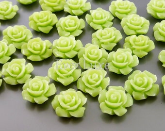4 kawaii cabochon in yellow green - rose flower resin findings for ring making, earrings making, for cabochon setting 5009-YG