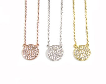 CZ Disc Necklace, Cubic Zirconia-- Gold Vermeil, Sterling Silver, or Rose Gold Vermeil