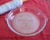 Pretty Vintage Doily. Custom Engraved Pie Plate