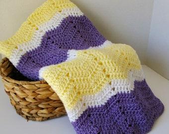 Crochet Baby Blanket, Crochet Baby Afghan in Lavender Purple, Yellow & White Chevron, Baby Girl