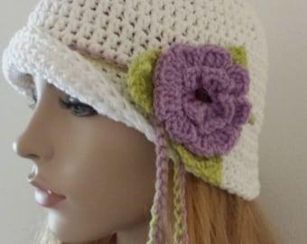 Cloche Sun Hat Floppy BeachCrocheted in WHITE and Handmade Flower Cloche Beanie Hat Fashion Spring Summer Perfect GIFT Vintage look Fashion