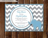 Preppy Chevron Elephant Baby Shower Invitation - Gray and Light Blue - PRINTABLE INVITATION DESIGN