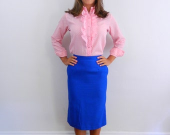 1970s Blouse ... Vintage 70s Pink Polka Dot Blouse with Ruffle Front ... Size Small to Medium