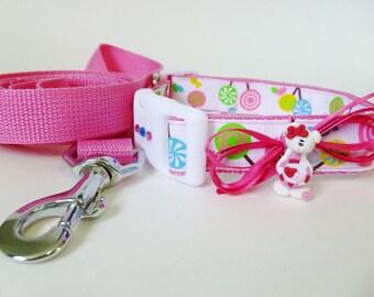 Pink Dog Collar Lollipops - Dog Collar and Leash