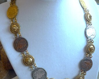 "signed ""Carolee"" france and helvitia 1980's coin and etruscan dome style necklace"