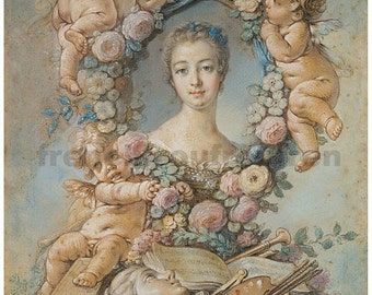 antique french portrait Madame de Pompadour pink roses angels DIGITAL DOWNLOAD