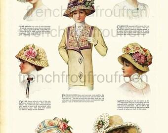 antique victorian lingerie hat fashion illustration DIGITAL DOWNLOAD