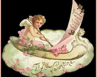 antique victorian valentine  illustration angel pink roses digital download