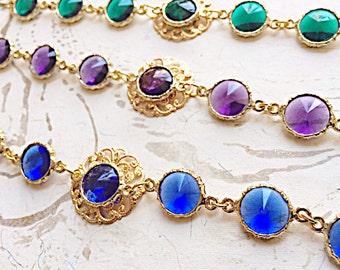 Gold Bracelet Filigree Green Blue Purple by MinouBazaar