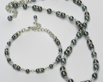 Silver Gray Pearl Swarovski Crystal Necklace Bracelet, Gifts for Women Under 50, Wedding Jewelry, Bridesmaid, Black Friday, Cyber Monday