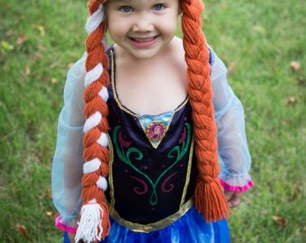 Anna Hat - 3 TO 5 Year Old - Frozen Inspired Anna Hat - Dress-Up Wig - Crocheted - Made to Order