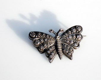 Art Deco Silver Butterfly Brooch - French Hallmark