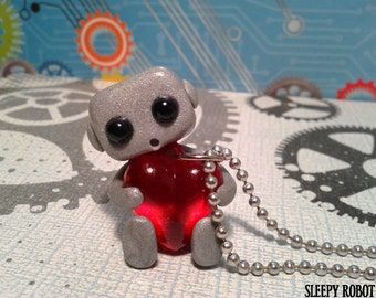 Robot With A Big Heart Necklace