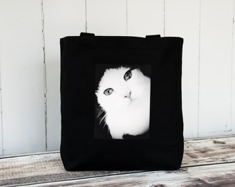 Window to the Soul - Carryall Tote - School Bag - Canvas Bag - Black and White Cat - Black or Natural