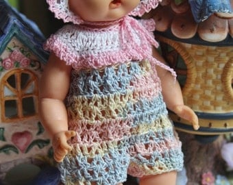 PDF PATTERN Crochet 8 inch Vintage Doll 50's Vogue Ginnette Baby Doll Romper Set