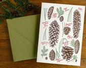 Rustic pinecone collection with evergreen pine needles - Letterpress holiday card