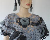 SALE 40% OFF Super Chunky  Freeform Crochet Poncho Capelet in Grey with Faux Fur  - Wearable Art