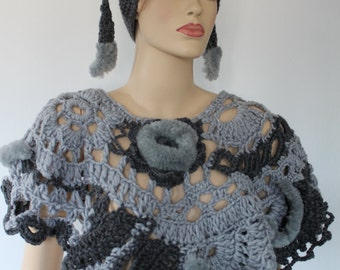 SALE 30% OFF Super Chunky  Freeform Crochet Poncho Capelet in Grey with Faux Fur  - Wearable Art