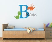 Initial & Name Wall Decal with Cute Dinosaurs - Boy Bedroom Wall Sticker - Dinosaur Decor - Large