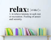 Relax Wall Decal - Dictionary definition Decal - Relax Decal - Medium