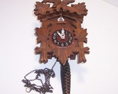Wood Cuckoo Clock Non-Working Old and Dusty, Cone Weight and Chain, Germany