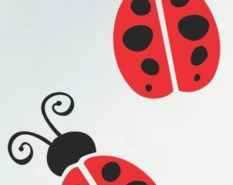 Two Super Cute Lady Bugs Decals