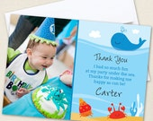 Under the Sea Photo Thank You Cards - Professionally printed *or* DIY printable