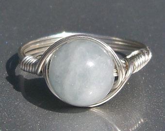 Lg Aquamarine Argentium Sterling Silver Wire Wrapped Gemstone Ring