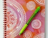 SALE! Hand Painted Notebook / Journal / Sketchbook / Zendoodle Doodle Notebook / Original Art Unique / Spiral Bound / Plain Blank Pages