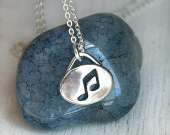 Sterling Silver Music Note Charm Necklace