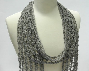 Cotton/ Linen Scarf, Hand Knit, Gray