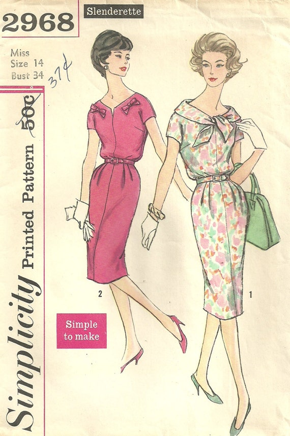Vintage 50s Sewing Pattern Simplicity 2968 // Dress Size 14 Bust 34