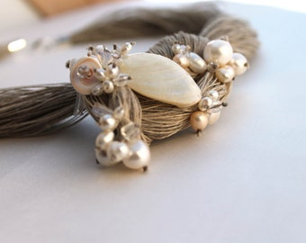 Pearl Wedding Linen Necklace Bridal Natural Pearl Jewelry OOAK Statement Necklace Junes Birthstone Snow White Gift for Her Valentines Day