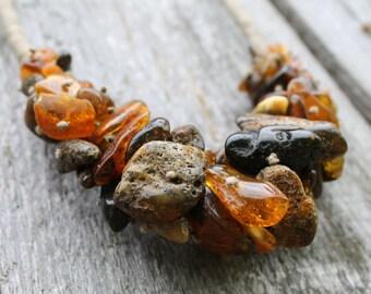 Raw huge Baltic Amber Eco Style Necklace Brown Statement Big Extra Large Earthy Colors Dark Russet Orange Black Chestnut Unpolished Amber