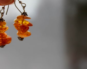 Amber Earrings Genuine Amber Jewelry Yellow Orange Amber Pure Natural Style Drops of sun golden Bee Earrings Honey Drops Earrings.