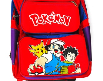 Vintage Pokémon Backpack Rare Original Early 1990s Issue Bag - Asian Anime Cartoon Ash Ketchum Pikachu Brock Geekery Red Blue Purple Luggage