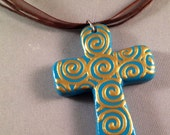 SALE - Hand Painted Pendant with Organza Ribbon Cord - Aqua Blue with Gold Swirls