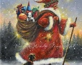 Santa Art Print strolling santa, Santa paintings wall art, Christmas art Kris Kringle Santa Claus art, red, toys, black dog, Vickie Wade art
