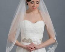 2 tier bridal wedding veil ivory elbow alencon lace trim
