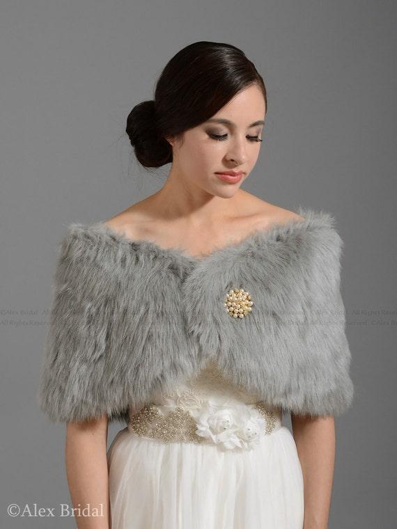 Silver faux fur wrap bridal wrap faux fur shrug faux fur stole - Stoel fur ...