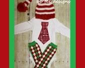 Baby Boys Christmas Hat, Tie Bodysuit, and Argyle Leg Warmers