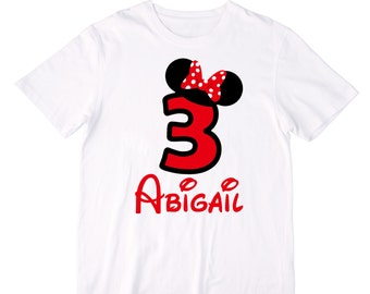 Personalized Red Polka Dot Bow Mouse Ears Birthday Shirt or Bodysuit - Personalized with ANY Name and Age