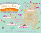 100 4x6 Postcard Prints - Custom Wedding Map St Martin Save the Date - Any City!!