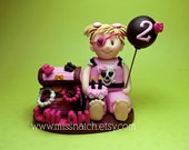 DEPOSIT - Pink Black Girl Pirate Party Custom Personalized First Birthday Cake Topper