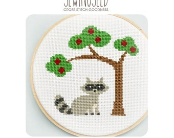 Raccoon Cross Stitch Pattern Instant Download