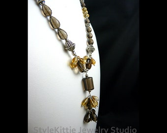 Citrine Smoky Quartz Y Fringe Necklace Set, 925 Sterling Silver, Dangle Earrings, AAA Faceted Gemstone, Cluster, Briolette, Golden, Jewelry