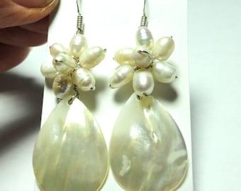 Pearl Earrings Mother of Pearl Earrings with Freshwater Pearl Cluster in Sterling Silver Pearl Wedding Earrings