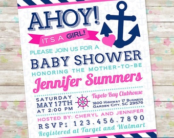 Baby Girl Shower, Ahoy Its a Girl, Nautical Invite, Anchor Invitation, Pink and Navy, Baby Shower Printable, DIY, Baby Girl