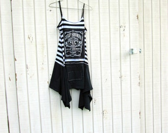 Gulf Shores Alabama / little black dress / funky tunic / Eco patchwork tunic / shirt / ooak / Upcycled Clothing  by CreoleSha