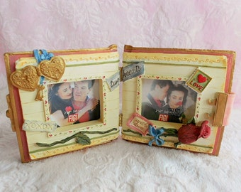 VALENTINE DIARY Book FRAME Picture Photo Red Rose Bud Flower Blue Floral Ribbon Key Lock Love Letter Photograph Vanity Stamp Double Bifold